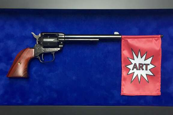 "The original version of ""ARTGun,"" by artist Alton DuLaney. The University of Houston denied him permission to display the work as intended. Through May 14, a gun-less version is on view at Blaffer Art Museum."
