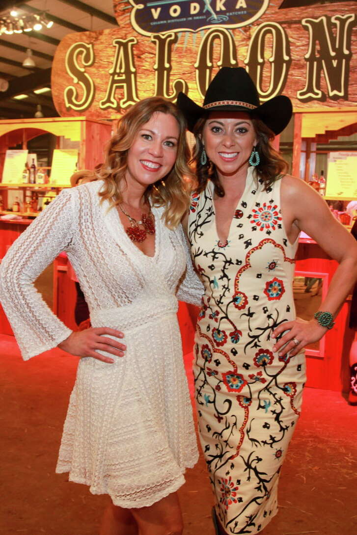 Chairs Allison Flikerski, left, and Lauren Maloy at the Cattle Baron's Ball.  (For the Chronicle/Gary Fountain, April 30, 2016)