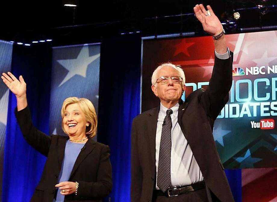 Democratic presidential candidates Hillary Clinton and Bernie Sanders, shown at a debate earlier this year in Charleston, S.C. Photo: Associated Press