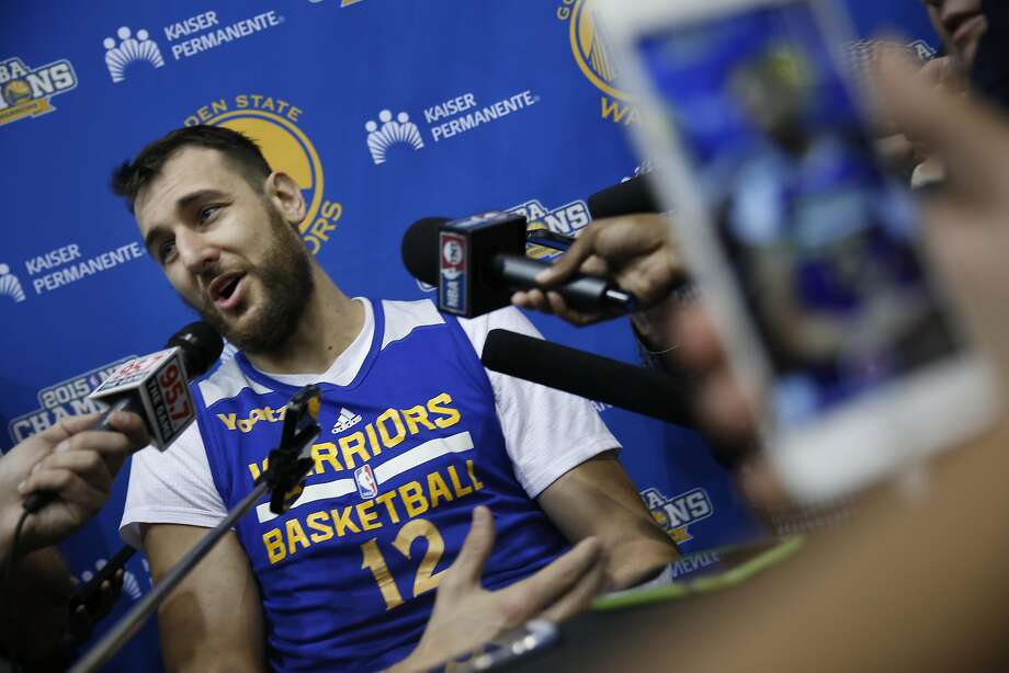 Andrew Bogut, Warriors center, answers questions from the media at the Warriors practice facility on Monday, May 2, 2016 in Oakland, California. Photo: Lea Suzuki, The Chronicle