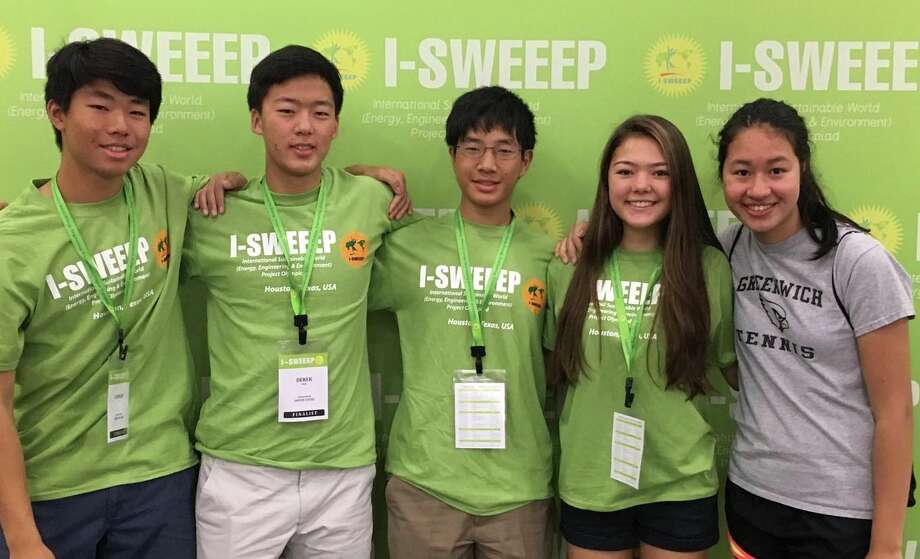 A quintet of Greenwich High School juniors earned top awards at the 2016 I-SWEEEP science competition in Houston. From left, are: Connor Li, Derek Woo, William Yin, Devyn Zaminski and Margaret Cirino. Photo: Contributed Photo