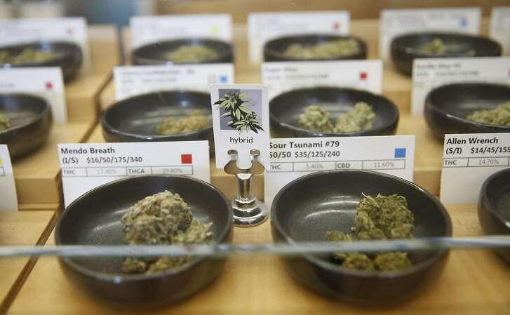 Marijuana buds display case at Harborside in Oakland, Calif., on Monday, May 2, 2016.
