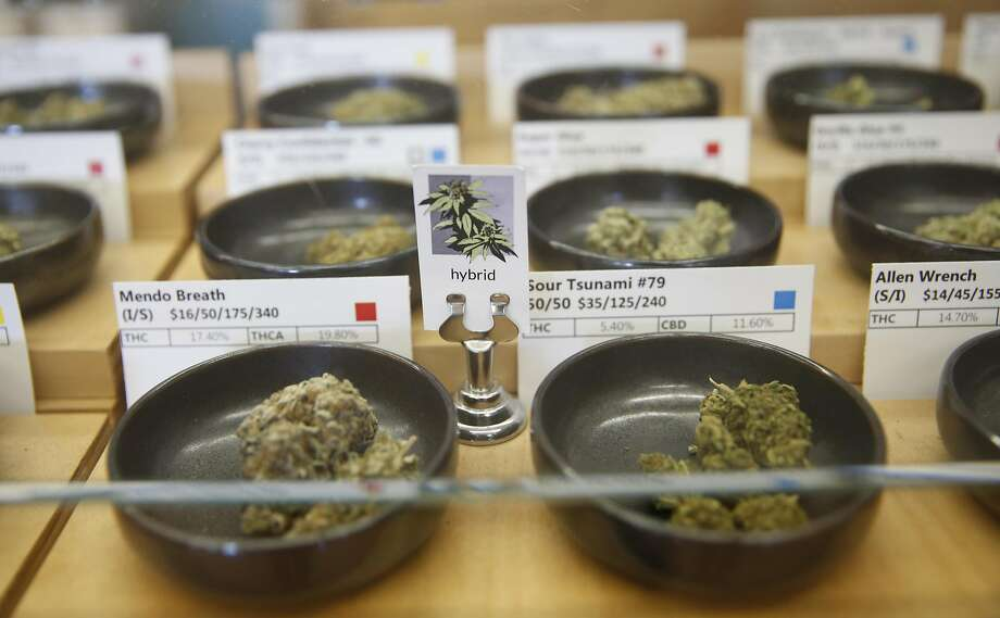 Marijuana buds display case at Harborside in Oakland, Calif., on Monday, May 2, 2016. Photo: Scott Strazzante, The Chronicle