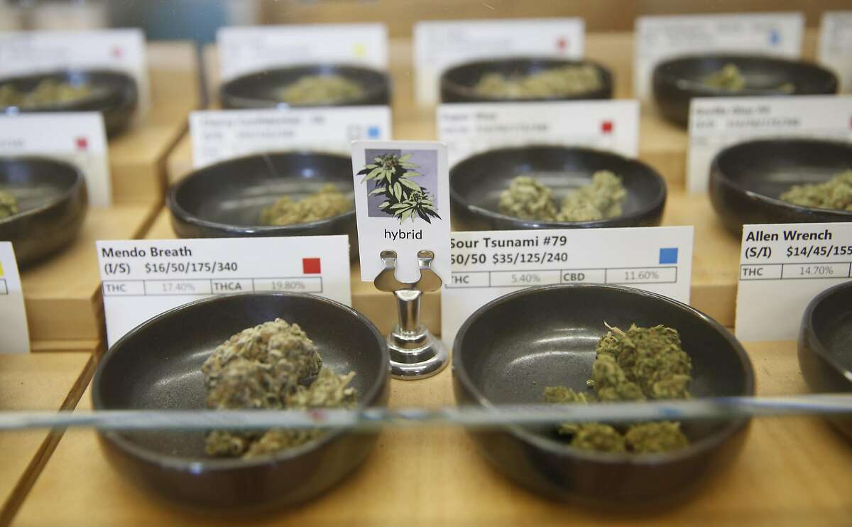 Marijuana buds display case at Harborside in Oakland, Calif., on Monday, May 2, 2016.