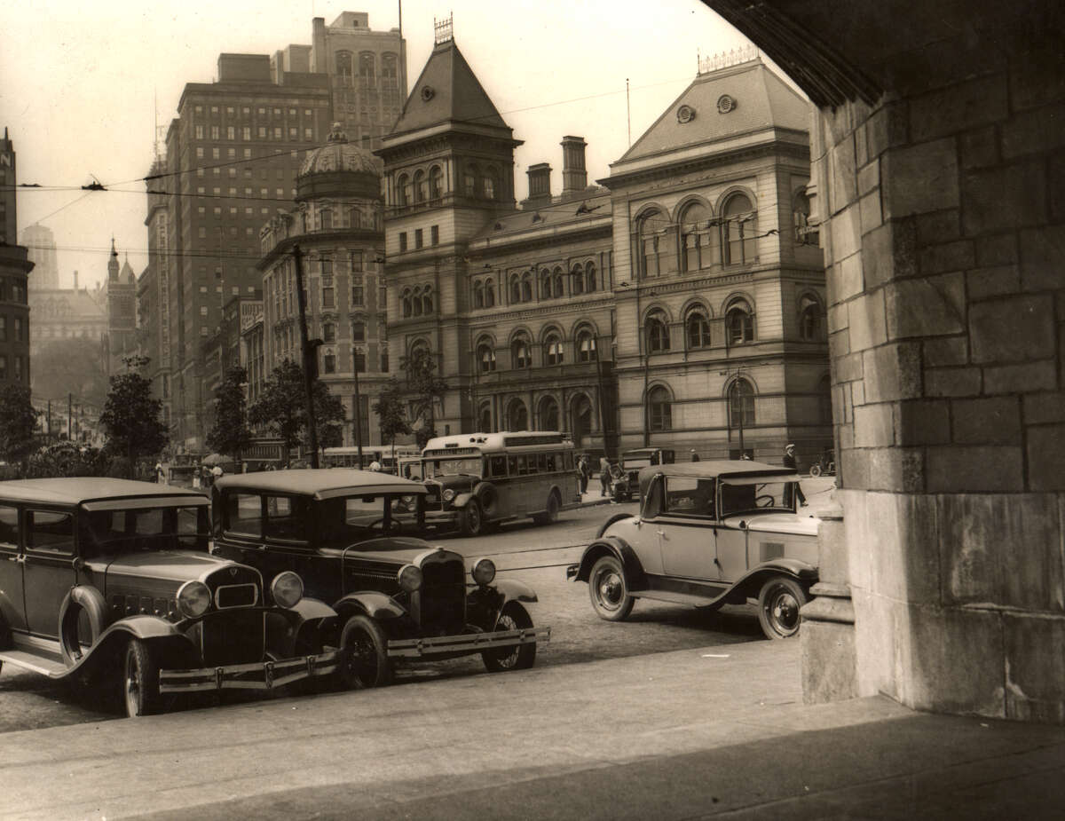 File photo of State St. from the D&H building in Albany, NY in the 1930s. 1930s Historic streets and buildings. (Times Union archive)