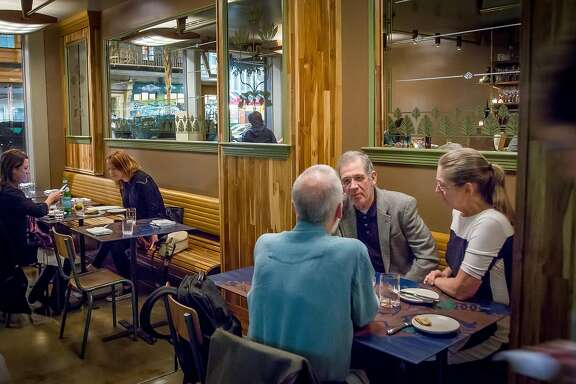 Diners have dinner at Huxley in San Francisco, Calif., on Saturday, January 24th,  2015.
