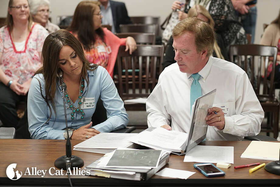 Kristen Lindsey and her attorney, Brian Bishop, at State Office of Administrative Hearing in Austin, April 25-26, 2016. (Alley Cat Allies)