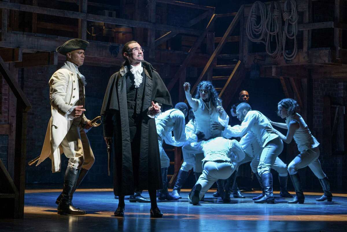 FILE -- Christopher Jackson, left, as George Washington and Javier Munoz in the title role of the Broadway musical