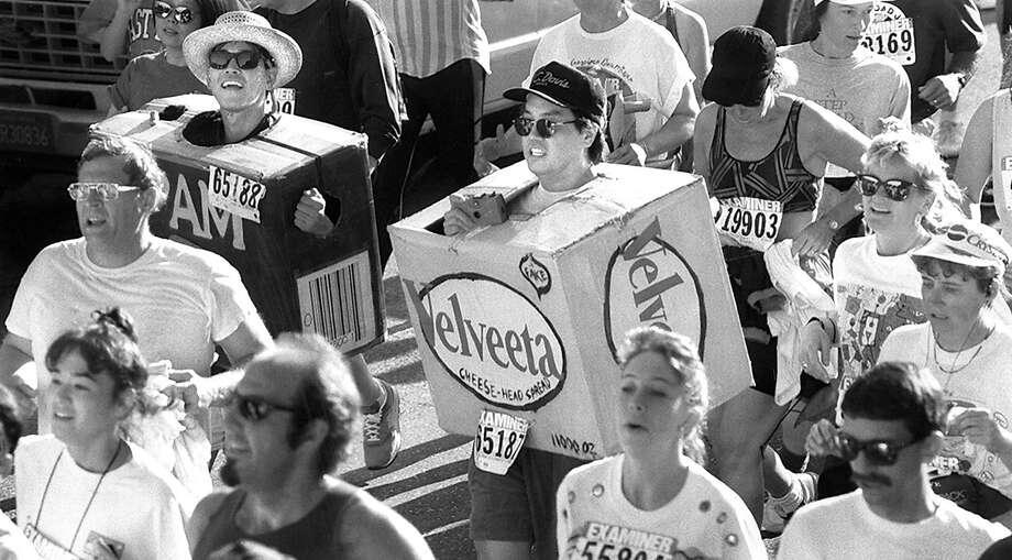 Spam and Velveeta make their  way along Hayes Street, May 16,   1993. Photo: Michael Macor, The Chronicle