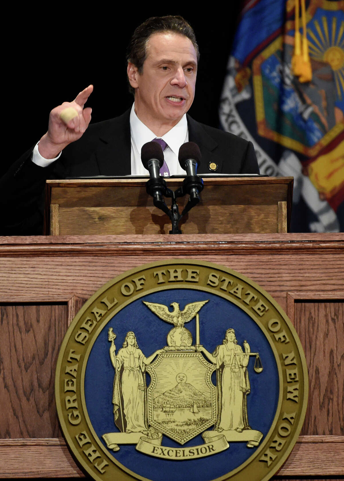 Gov. Andrew Cuomo presents his State of the State message at the Convention Center at the Empire Plaza Jan. 13, in Albany, N.Y. It included a call for ethics reform.(Skip Dickstein/Times Union)