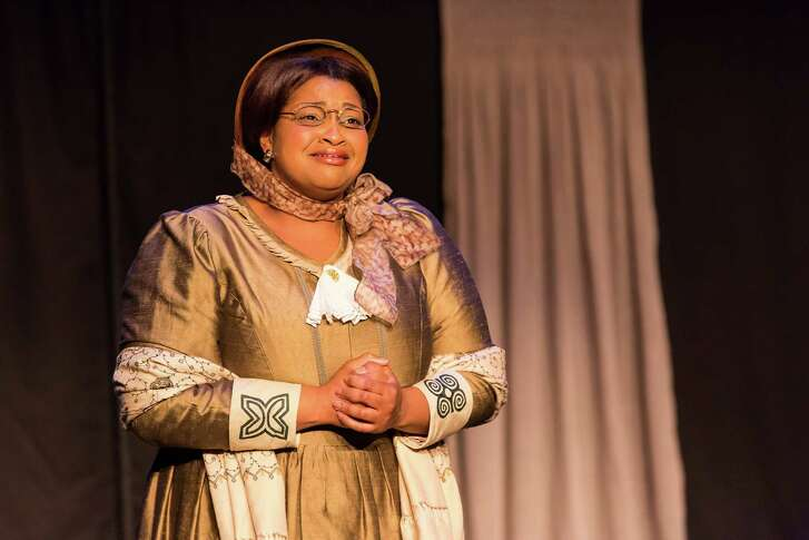 """Gwendolyn Alfred plays duel roles - as Emeline and her sister Lucy - in Houston Grand Opera's production of """"What Wings They Were: The Case of Emeline."""""""