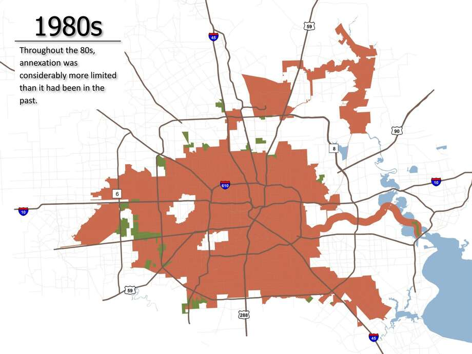 A map produced by the city planning department shows large areas in white, including East Aldine, that were passed over during a time of aggressive annexation. (City of Houston)