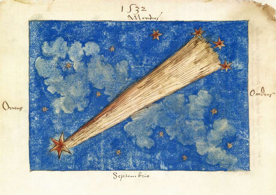 UNITED KINGDOM - JANUARY 22:  The Great Comet of 1532. Watercolour sketch labelled as the comet of 1532, originally bound in a sixteenth century commonplace book. The comet is depicted as having a straight tail and is shown as lying in front of the clouds in the Sky. This particularly bright comet was seen for 119 days after its discovery at the end of 1532. The astronomer Edmond Halley (1652-1742), famous for the comet named after him, suggested later that this particular comet may be related to the bright one seen in 1661. Studying its movements across the sky, Halley concluded that both comets were one of the same, as they followed identical orbits around the Sun.  (Photo by Science & Society Picture Library/SSPL/Getty Images) Photo: SSPL Via Getty Images