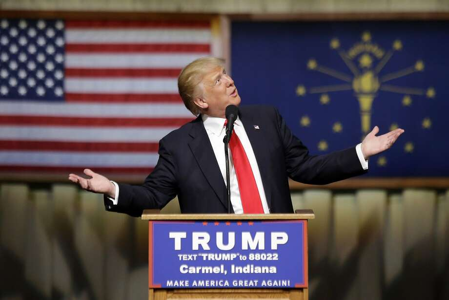 Republican presidential candidate Donald Trump speaks during a rally at The Palladium in Carmel, Ind., Monday, May 2, 2016. (AP Photo/Michael Conroy) Photo: Michael Conroy, Associated Press