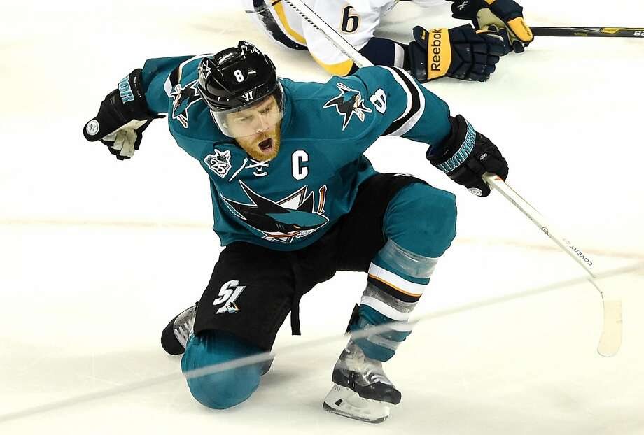 Sharks captain Joe Pavelski celebrates after scoring the go-ahead goal against the Nashville Predators in Game 2 of the Western Conference semifinals. Pavelski has scored six goals in seven playoff games in this postseason. Photo: Thearon W. Henderson, Getty Images
