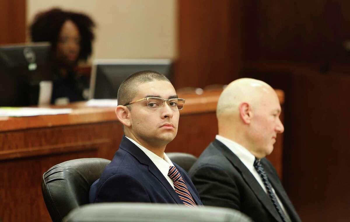 Eddie Herrera, now 20, looks on during opening statements at his trial on domestic-violence charges. He and his date, Jacqueline Gomez, had consumed both liquor and hydrocodone pills, which his mother allegedly provided.