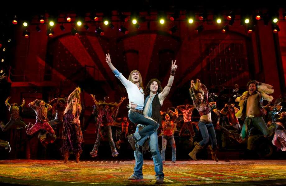 "Contributed photo/Joan Marcus Kyle Riabko as Claude and Ace Young as Berger perform with the cast of the Broadway revival of ""Hair: The American Tribal Love-Rock Musical,"" which is playing at the Al Hirschfeld Theater in New York City. Photo: Contributed Photo / Stamford Advocate Contributed"