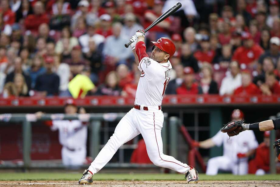 This 3-2 swing from Joey Votto resulted in a three-run homer, part of a six-run third inning against Johnny Cueto. Photo: Joe Robbins, Getty Images