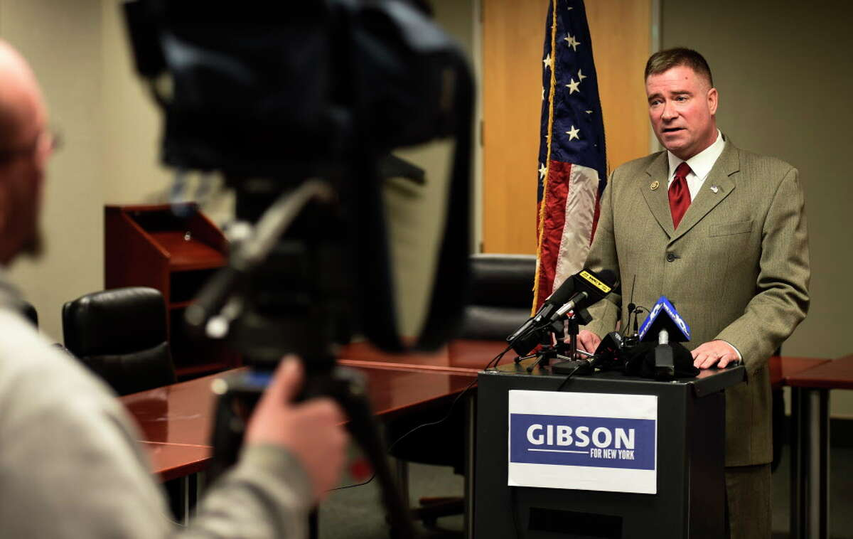 Congressman Chris Gibson held a media availability at Albany International Airport, Feb. 9, 2015 in Colonie, N.Y., to answer questions about the exploratory committee he has formed to run for Governor of New York in 2018. (Skip Dickstein/Times Union)