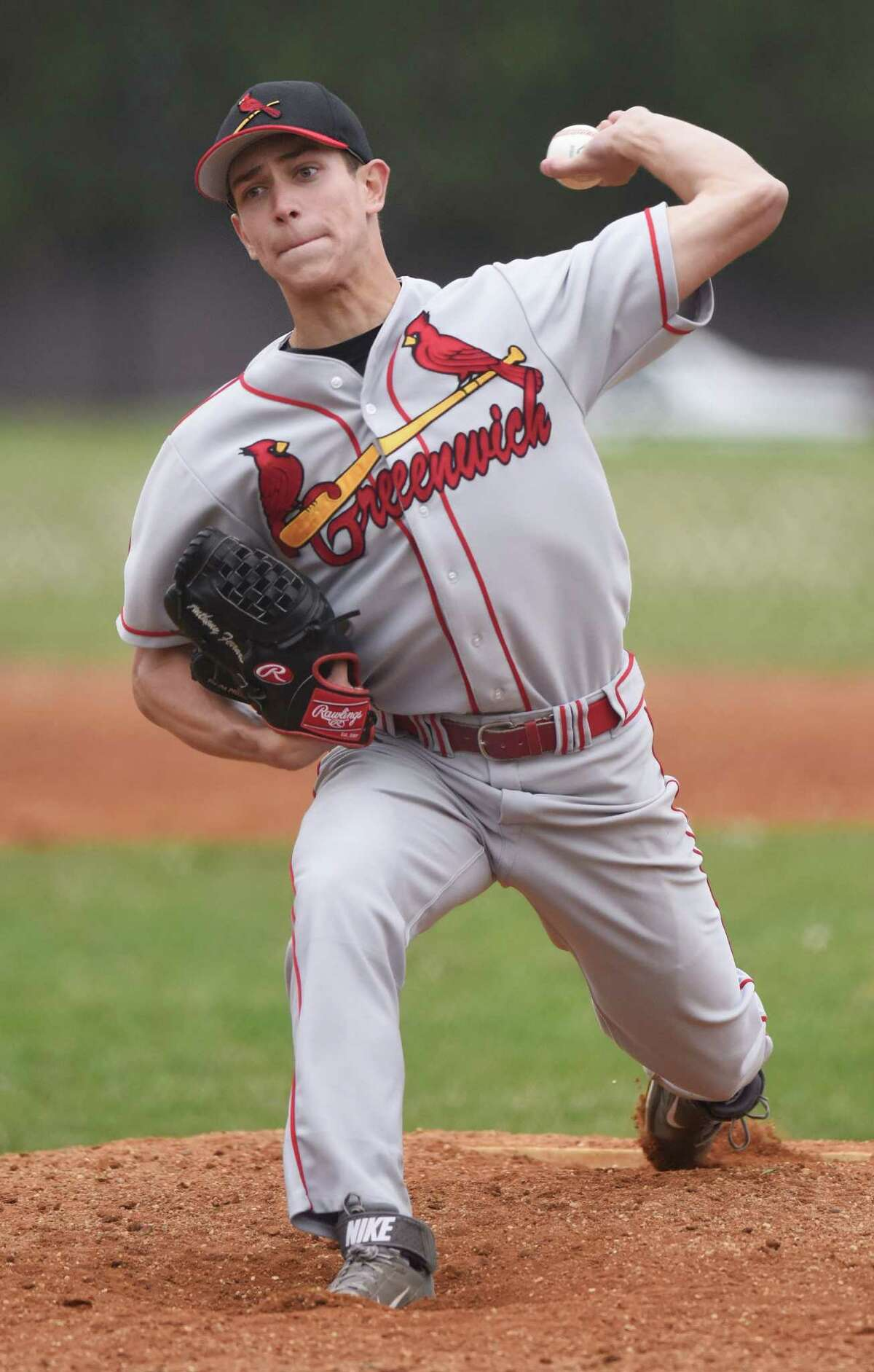 Greenwich pitcher Anthony Ferraro earned his first victory of the season on Monday, going 6 2/3 effective innings against Stamford.