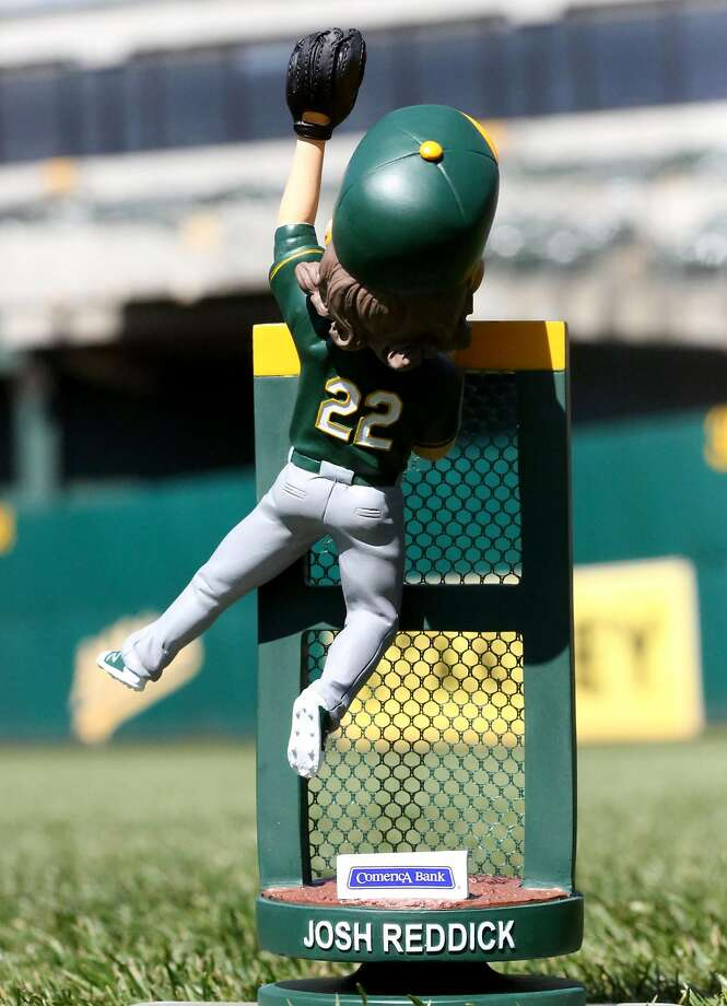 Josh Reddick bobblehead, depicting the A's right fielder climbing the wall to steal a home run. It'll be a giveaway at the Coliseum on May 28, 2016. Photo: Oakland A's