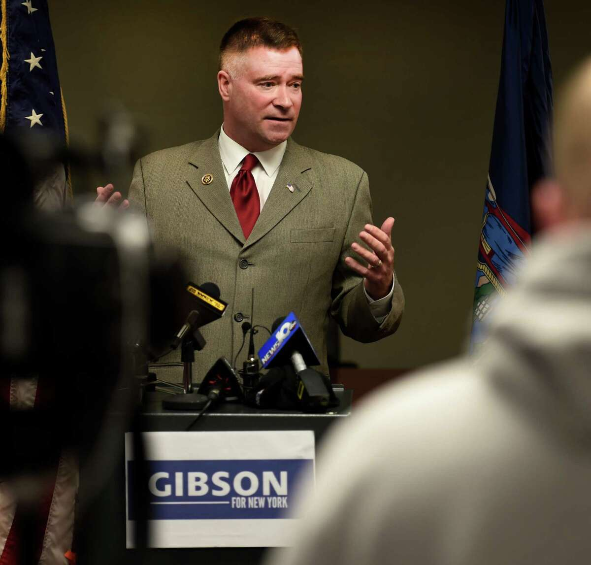 Congressman Chris Gibson holds a media availability to answer questions about the exploratory committee he has formed to run for Governor of New York in 2018 on Feb. 9, 2015, at Albany International Airport in Colonie, N.Y. (Skip Dickstein/Times Union archive)