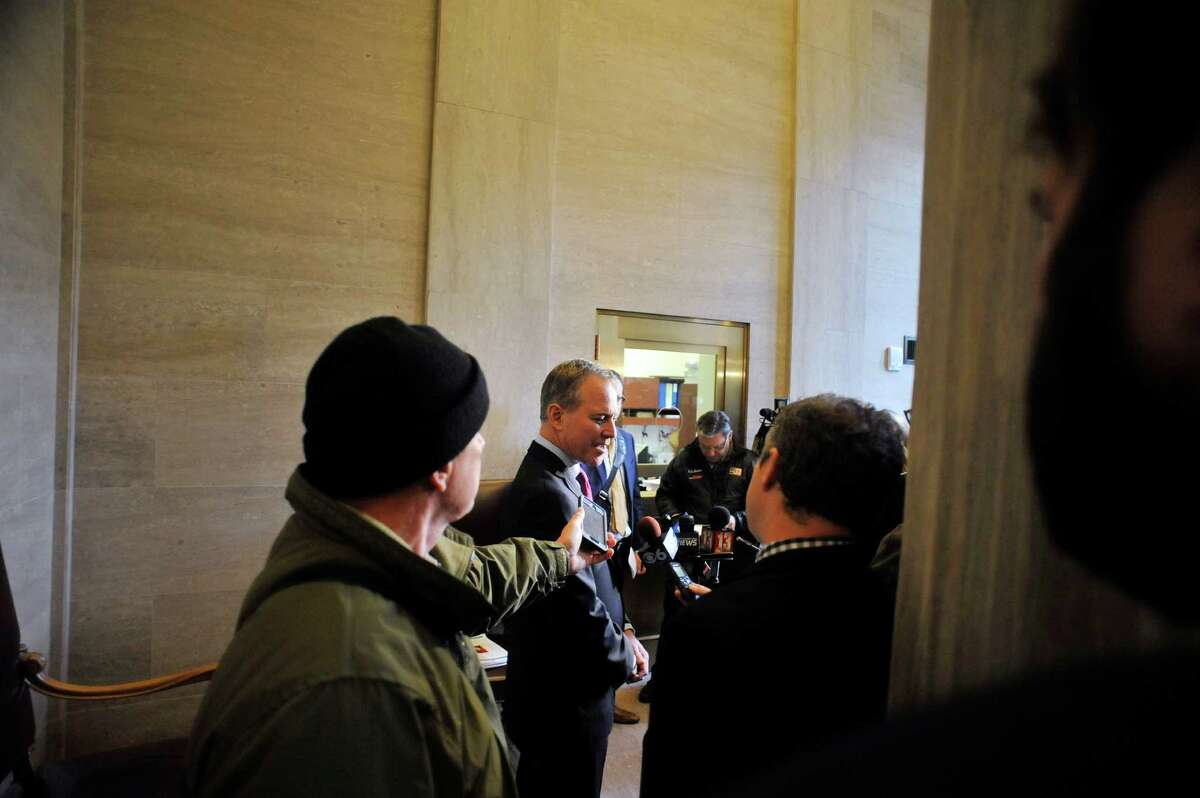New York State Attorney General Eric Schneiderman, talks with members of the media after he attended the annual Law Day event at the New York State Court of Appeals on Monday, May 2, 2016, in Albany, N.Y. (Paul Buckowski / Times Union)