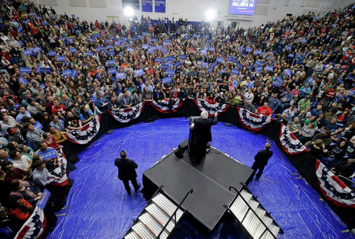 Democratic presidential candidate, Sen. Bernie Sanders, I-Vt. speaks during a campaign rally, Monday, May 2, 2016, in Fort Wayne, Ind. (AP Photo/Darron Cummings) ORG XMIT: INDC108