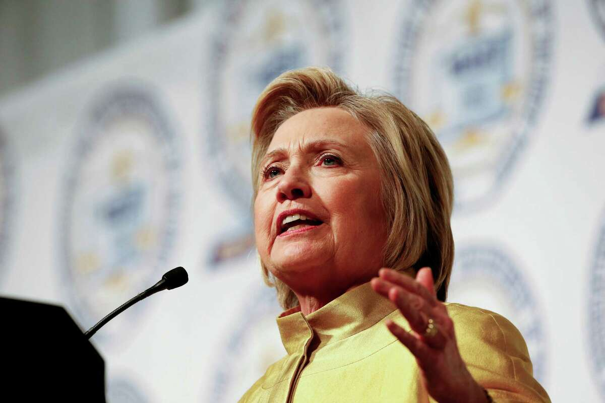 Democratic presidential candidate Hillary Clinton speaks at the NAACP's 61st annual Fight for Freedom Fund dinner in Detroit, Sunday, May 1, 2016. (AP Photo/Paul Sancya) ORG XMIT: MIPS105