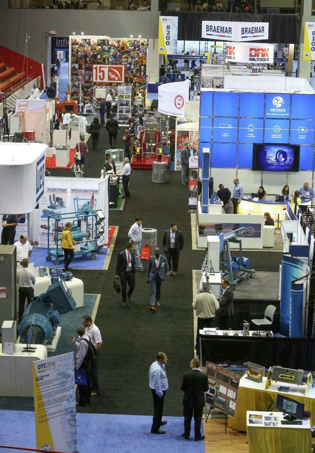 The turnout was light Monday at the Offshore Technology Conference at NRG Park. Conference organizers are hosting training sessions for those attendees who are seeking jobs.
