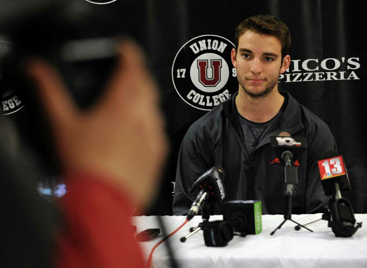 Union hockey player Shayne Gostisbehere speaks during a press conference where it was announced he has agreed to sign an entry-level contract with the Philadelphia Flyers on Tuesday, April 15, 2014 in Schenectady, N.Y. Mat Bodie agreed to an NHL contract with the New York Rangers. (Lori Van Buren / Times Union)