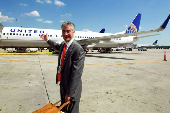 Jeff Smisek points out United Airlines' new look in 2010 after the merger of United and Continental airlines.