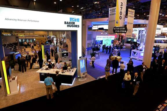 The Baker Hughes booth was busy Monday at the 2016 Offshore Technology Conference. So was Halliburton's.