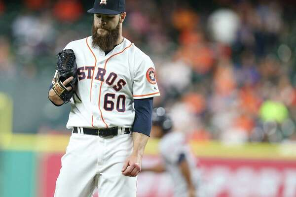 Dallas Keuchel shows his frustration during the Twins' three-run fourth inning that put the Astros in a hole they couldn't escape by mounting only a five-hit attack Monday night.