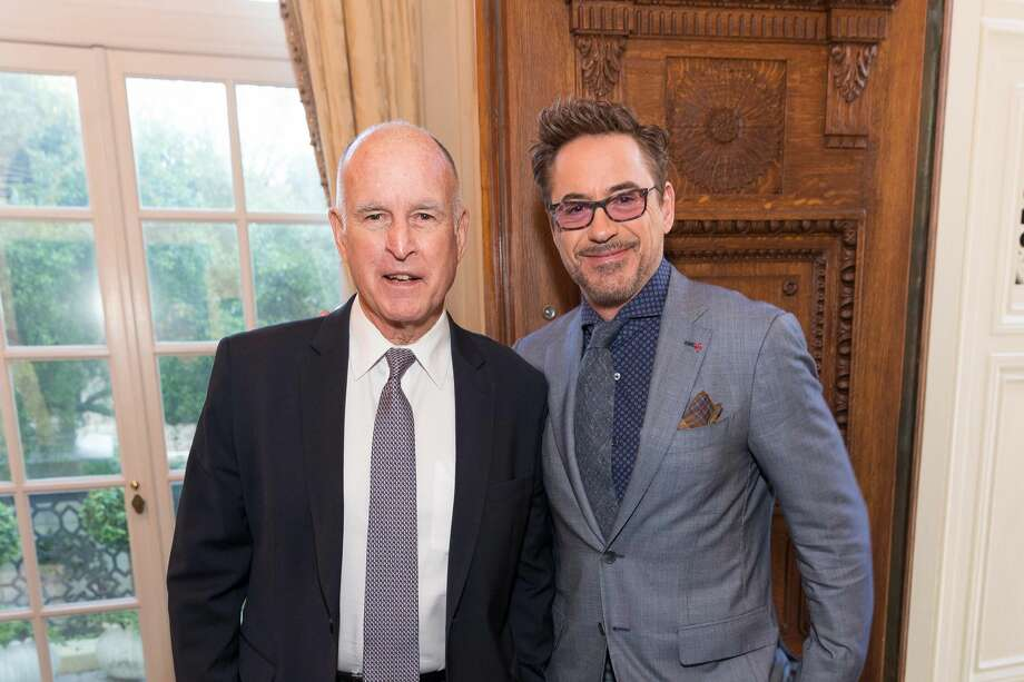 Jerry Brown, Robert Downey Jr. Photo: Drew Altizer Photography/SFWIRE