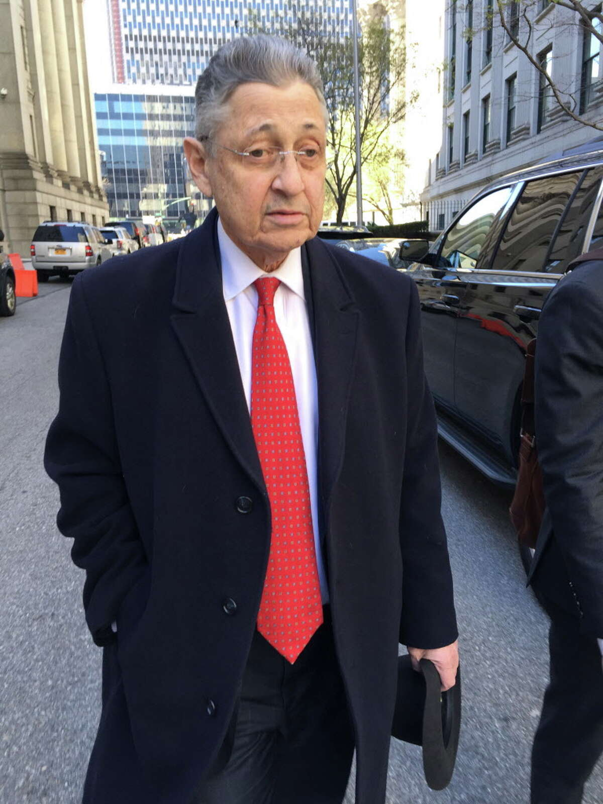 FILE- In this April 14, 2016 file photo, former New York Assembly Speaker Sheldon Silver leaves court in New York. Silver will learn his fate following his November conviction in a $5 million corruption case. Judge Valerie Caproni is scheduled to sentence the Manhattan Democrat on Tuesday, May 3. (AP Photo/Larry Neumeister, File) ORG XMIT: NY107