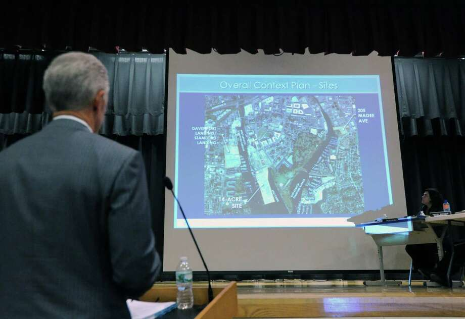 Attorney John Knuff speaks in front of the Stamford Planning Board during a meeting to review the Building and Land Technology's proposal to build housing, a boatyard and a marina on Southfield Avenue, the public meeting was held at Westover Magnet Elementary School, Stamford, Conn., Wednesday, Oct. 14, 2015. Knuff was representing Building and Land Technology. Photo: Bob Luckey Jr. / Hearst Connecticut Media / Greenwich Time