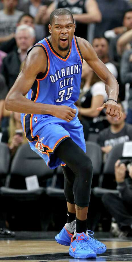 Oklahoma City Thunder's Kevin Durant celebrates after a basket during second half action of Game 2 in the Western Conference semifinals against the San Antonio Spurs Monday May 2, 2016 at the AT&T Center. The Thunder won 98-97. Photo: Edward A. Ornelas, Staff / San Antonio Express-News / © 2016 San Antonio Express-News