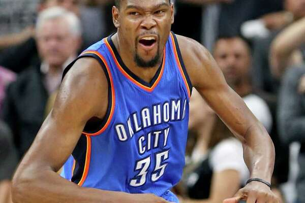 Oklahoma City Thunder's Kevin Durant celebrates after a basket during second half action of Game 2 in the Western Conference semifinals against the San Antonio Spurs Monday May 2, 2016 at the AT&T Center. The Thunder won 98-97.