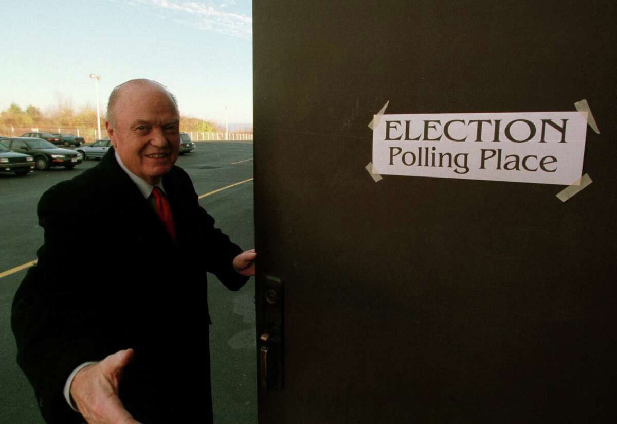 44th Senate District incumbent Hugh Farley enters his polling station to vote on Tuesday, Nov. 7, 2000, in Niskayuna, N.Y. (Will Waldron/Times Union)