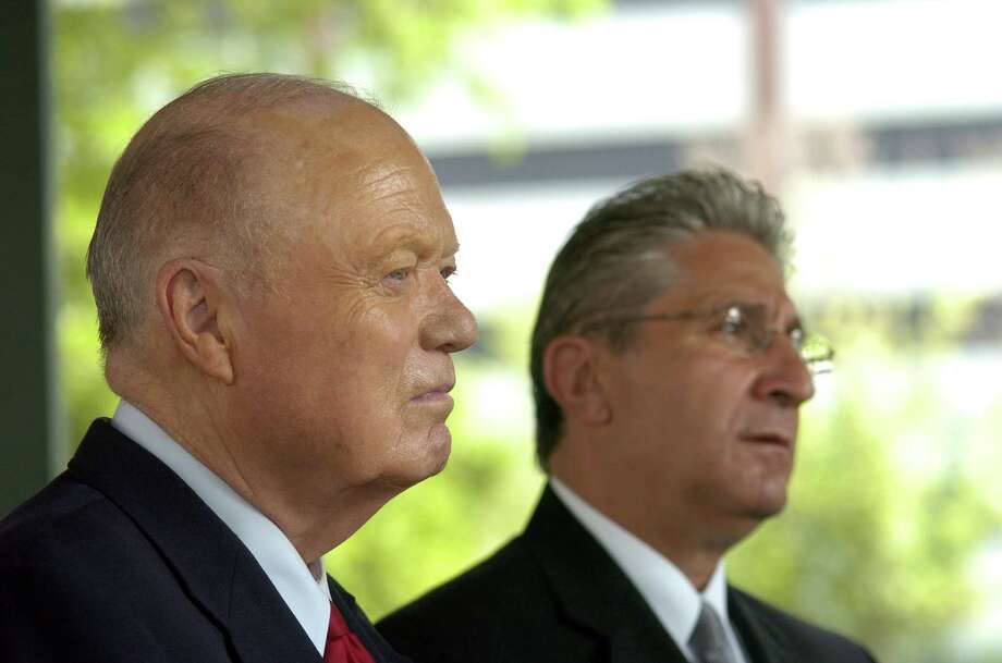 Senator Hugh Farley, left, and Assemblyman Jim Tedisco, right,  listen as Mike Moffett addresses those gathered at Veterans Park in Schenectady, N.Y. on Thursday, July 27, 2006, where Mike Moffett announced that he is a candidate for Schenectady County sheriff.  (Paul Buckowski/Times Union) Photo: Paul Buckowski / Albany Times Union