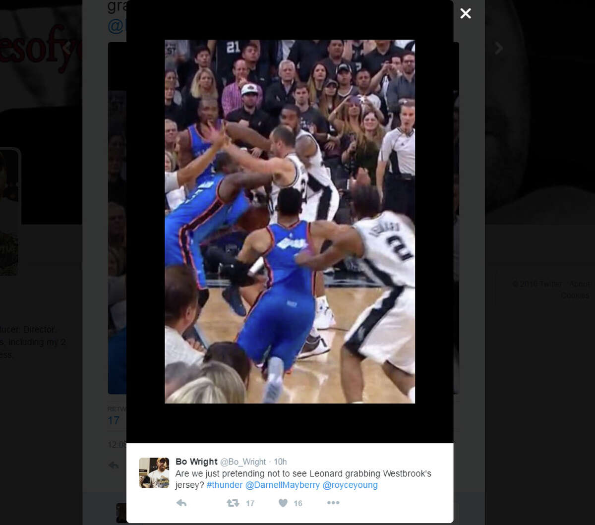 3. As Waiters extends to make contact with Ginobili, Kawhi Leonard tracks Oklahoma City star Russell Westbrook. No violation is called.Tweet: