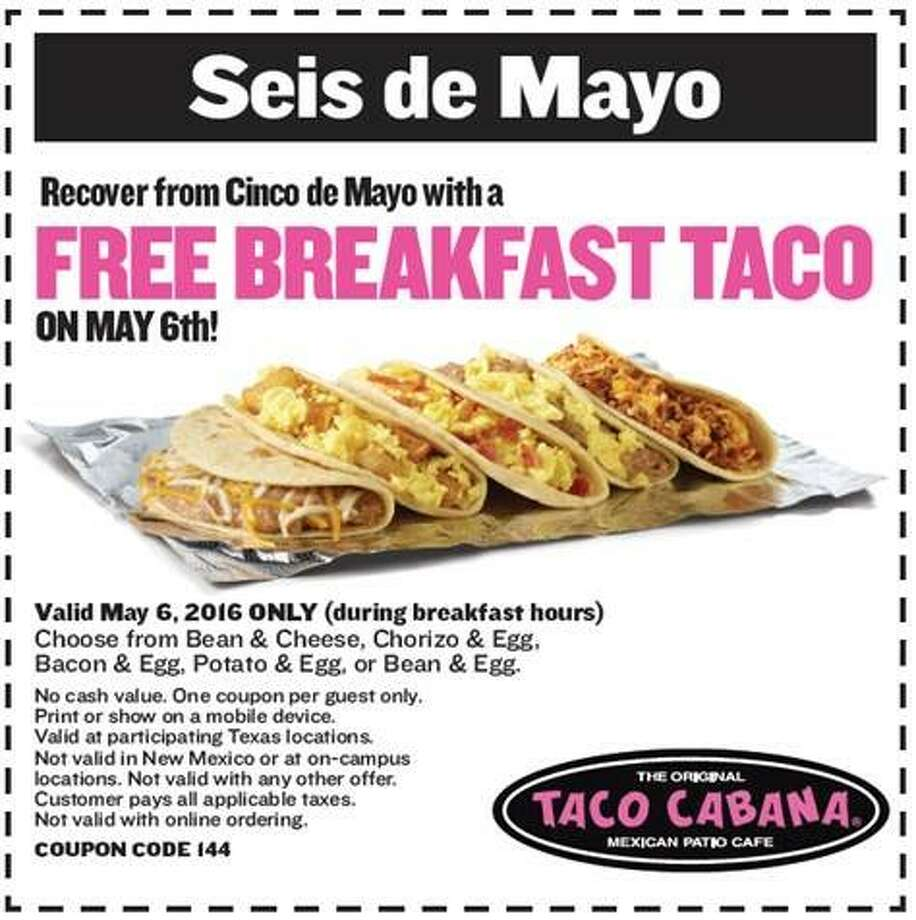 """The coupon for """"Seis de Hangover"""" will be accessible on Taco Cabana's social media platforms starting May 5."""
