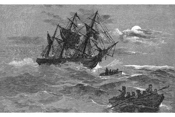 The 'Endeavour' on the reef, Australia, 1770 (1886). The 'Endeavour', commanded by Captain James Cook ran aground on the Great Barrier Reef on 10 June 1770. Wood engraving from 'Picturesque Atlas of Australasia, Vol I', by Andrew Garran, illustrated under the supervision of Frederic B Schell, (Picturesque Atlas Publishing Co, 1886). (Photo by The Print Collector/Print Collector/Getty Images)