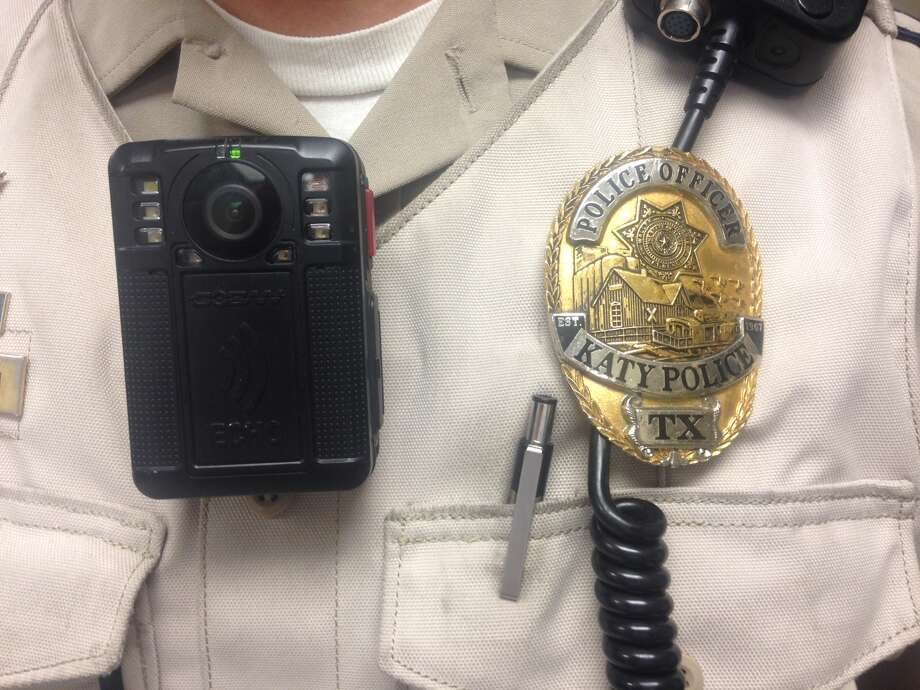Katy police officer Jim Lieberman looks forward to using body-worn cameras like the one attached to his uniform. Photo: Katy Police Department