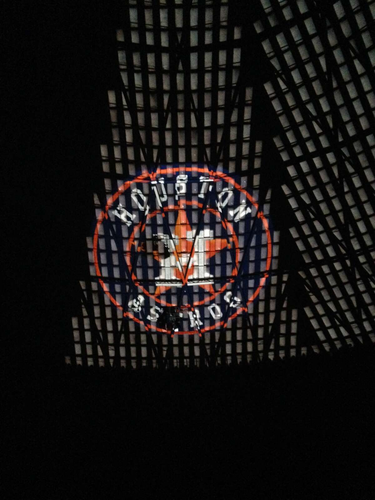 Images of Houston's culture are projected onto the Astrodome ceiling during the demonstration of a light show that could be on display during the 2017 Super Bowl.