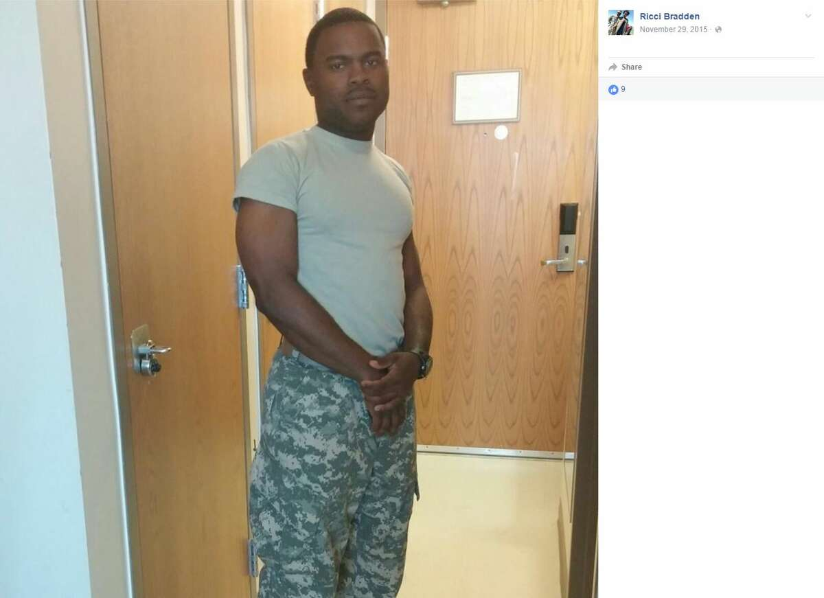 Arlington police allege that Ricci Bradden, a 22-year-old Army private, (pictured) told his commanders at Fort Hood that he shot and killed Anthony Antell Jr., 35, on Monday outside of a Walgreens store in Arlington, The Associated Press reported.