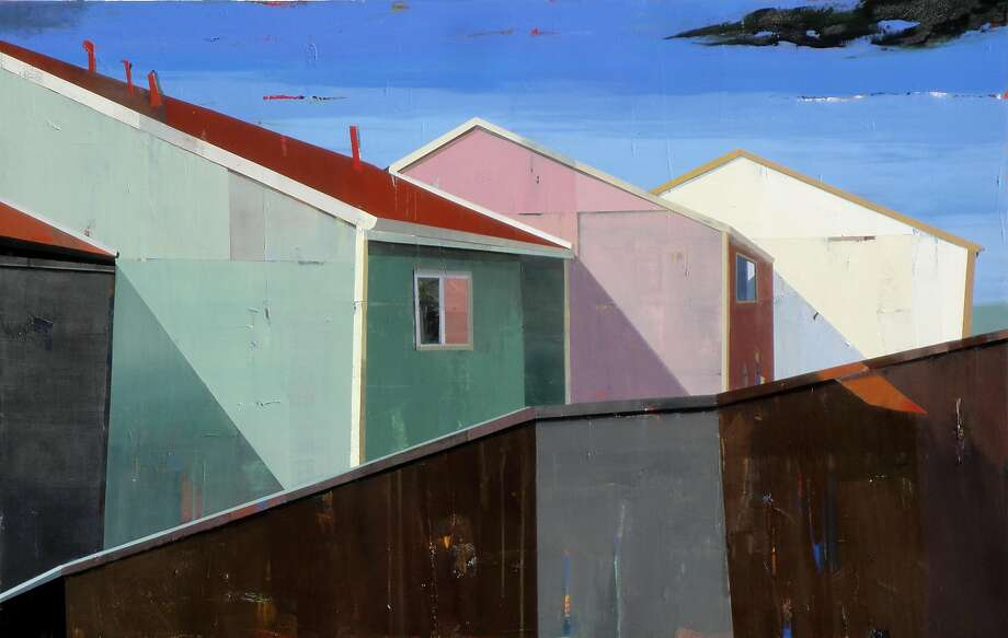 "Siddharth Parasnis' ""Neighborhood #9,"" oil on canvas, 48 by 75 inches. Photo: Courtesy Caldwell Snyder Gallery"