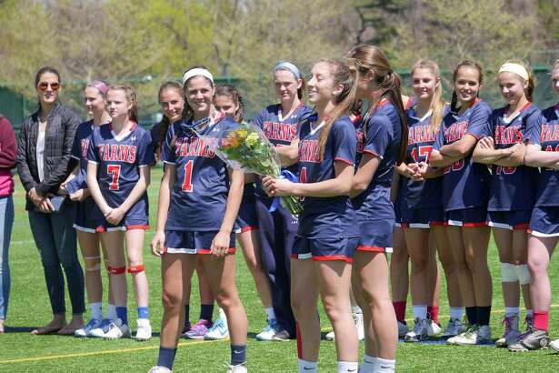 The GFA girls lacrosse team honored senior co-captain Ingrid Backe (No. 1, of Fairfield) during Senior Day last week. The team is now 9-1 on the season.
