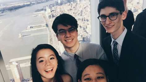 The Bellaire debate team enjoyed seeing some of the sights in New York City during the International Public Policy Forum competition in April. Team membes are Christina Tan, left, Antony Yun, Liana Wang and Tomas Arango.